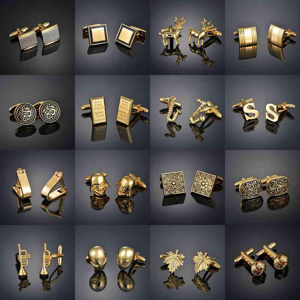 Light Luxury Shirt Cufflinks Men's Shirt Cuffs Nail French Gold Buttons