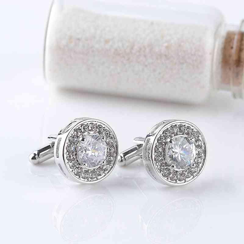 Luxury Cufflinks's And Women Zircon White Purple Crystal Clear Cuff Button