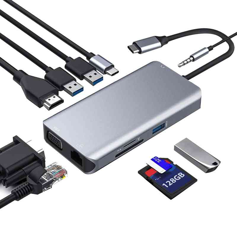 Usb-c Hub, Type C Adapter 10-in-1 Dongle With Ethernet
