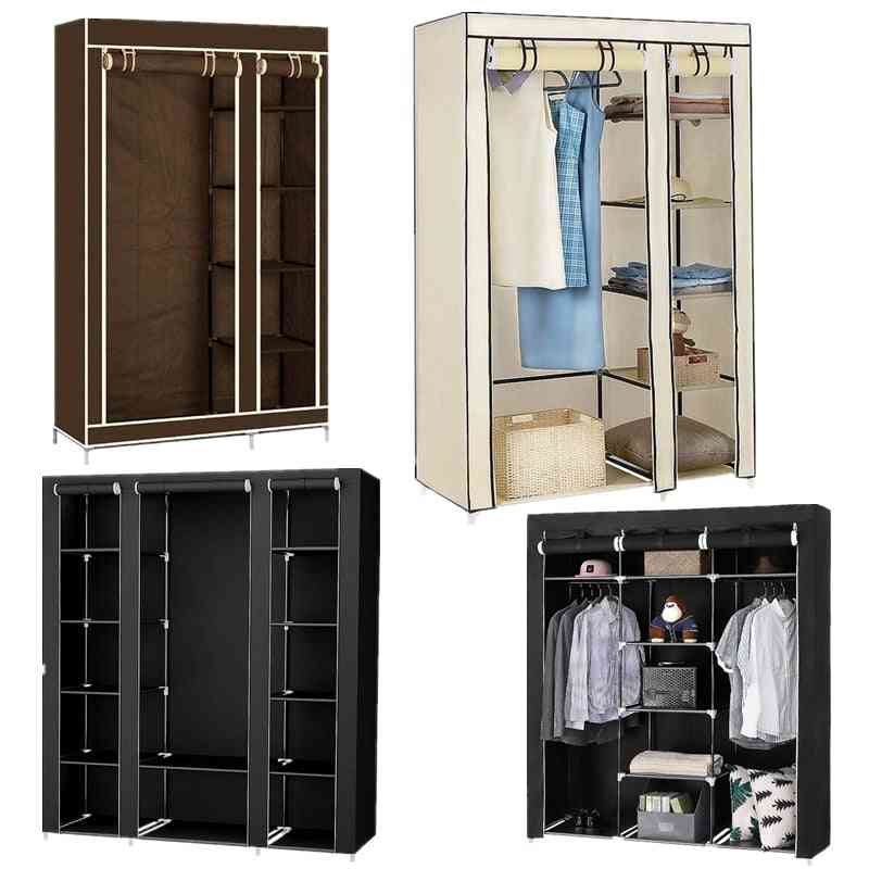 Portable Clothes Closet Cabinet, Non-woven Fabric Wardrobe Folding Clothing Storage