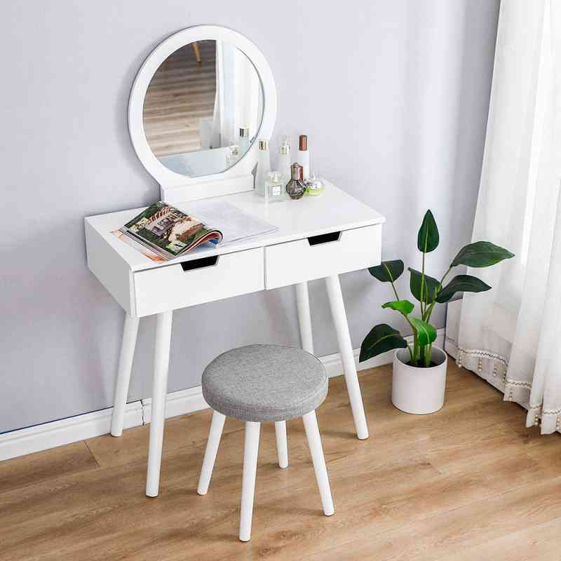 Wooden Dresser Table Mirror With Chair Set