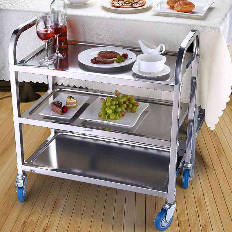 Mobile Dining Trolley, Stainless Steel Three Tier Tea Cart Table