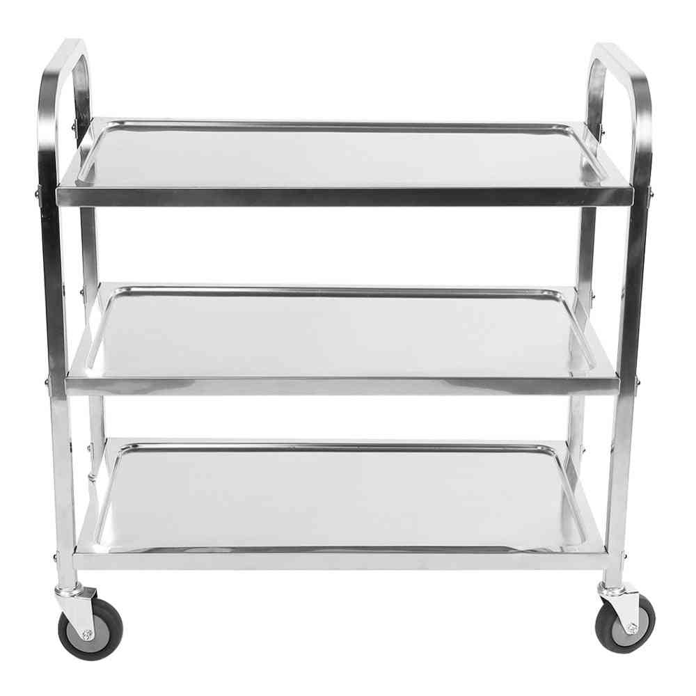 Stainless Steel Large Tier Hotel Catering Trolley Restaurant Cart Serving Clearing