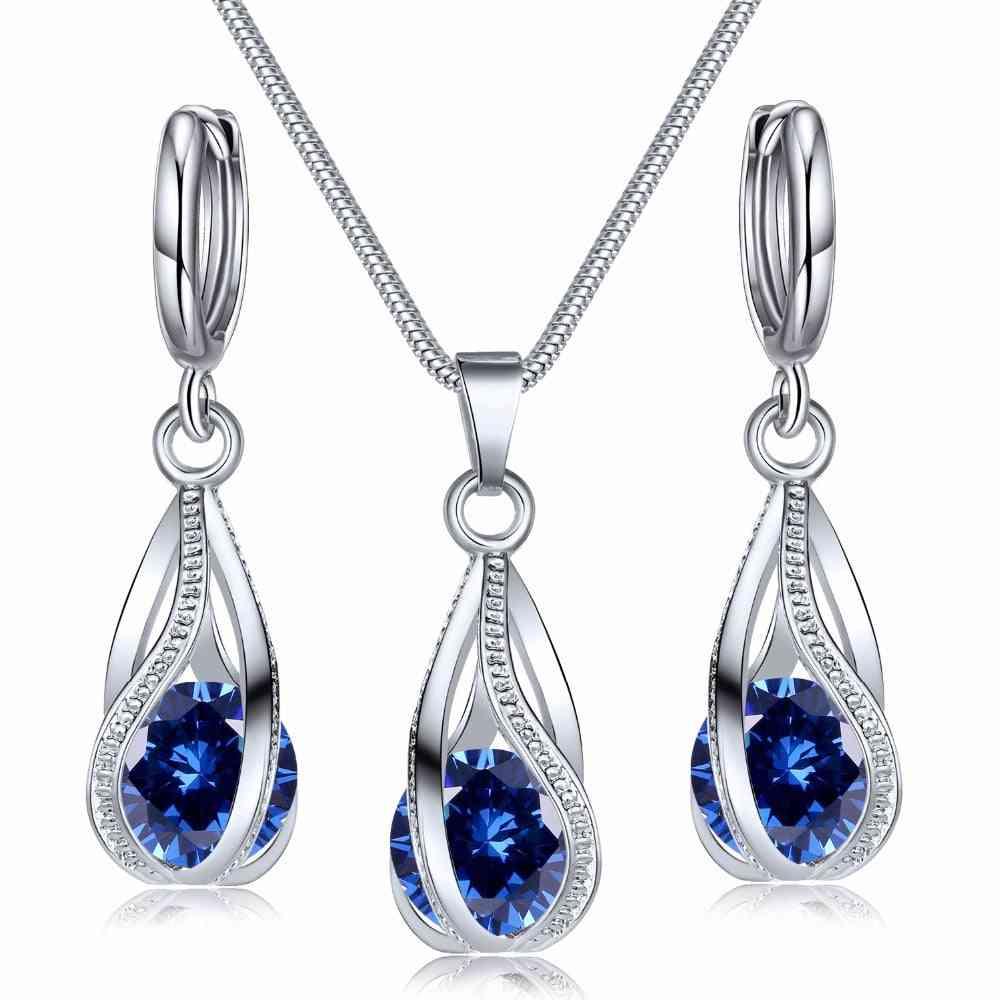 Crystal Jewelry Set Zircon Necklace Earrings Set Decoration