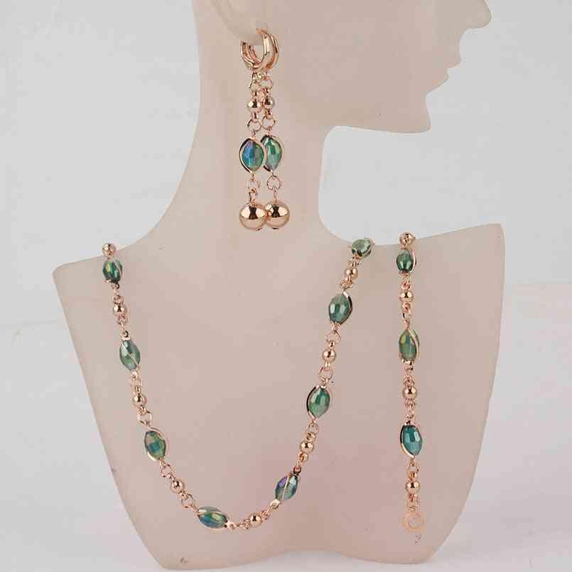 Fashion Crystal Beads Jewelry Sets Gold Wedding Jewelry Sets Women Necklace