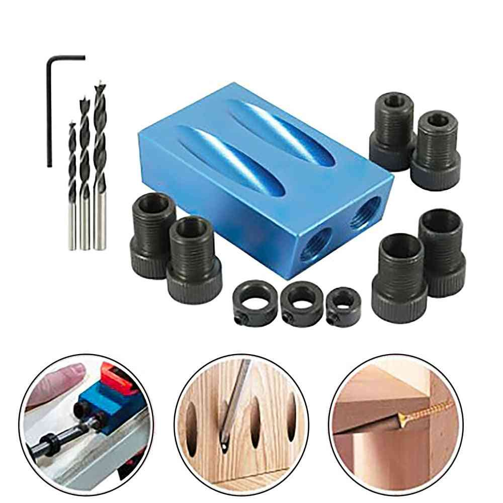 Pocket Hole Jig Kit, Woodworking Oblique Hole Locator Drill Bits