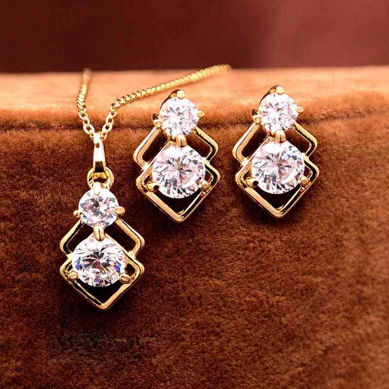 Wedding Crystal Jewelry Sets, Gold Necklace