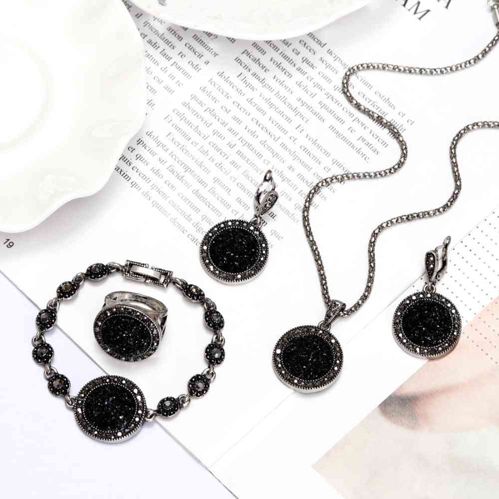 Necklace, Earrings, Bracelet And Ring Set-stone Wedding Jewelry
