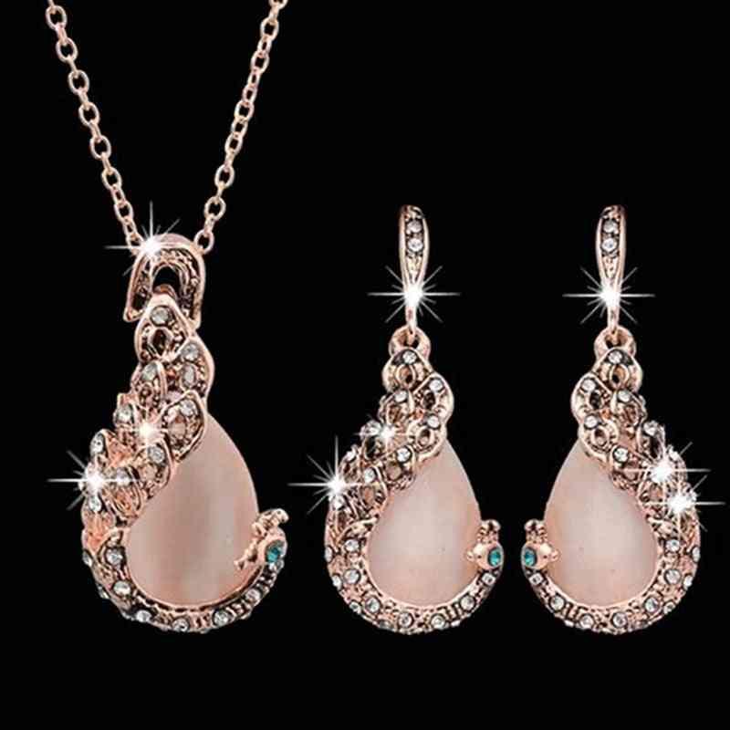 Women Elegant Rhinestone Pendant Necklace Hook Earrings Jewelry Set