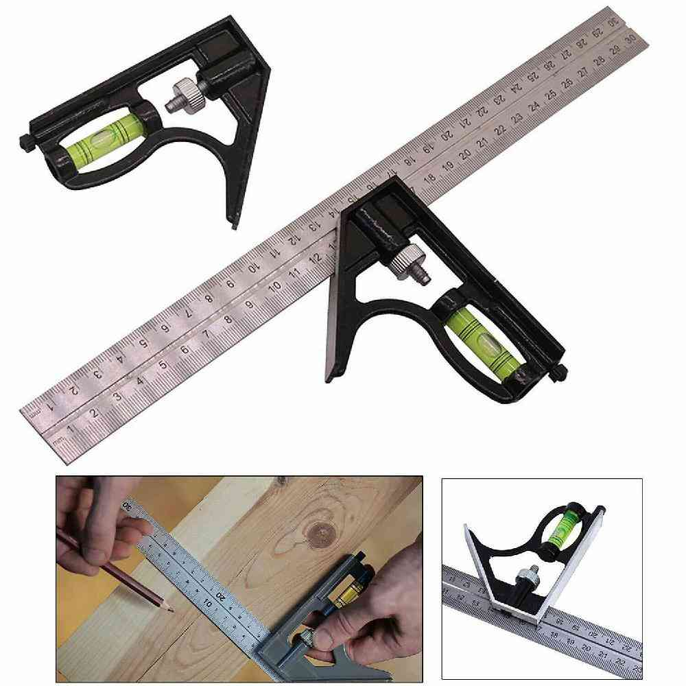 Adjustable Right Angle Ruler With Spirit Level And Scriber