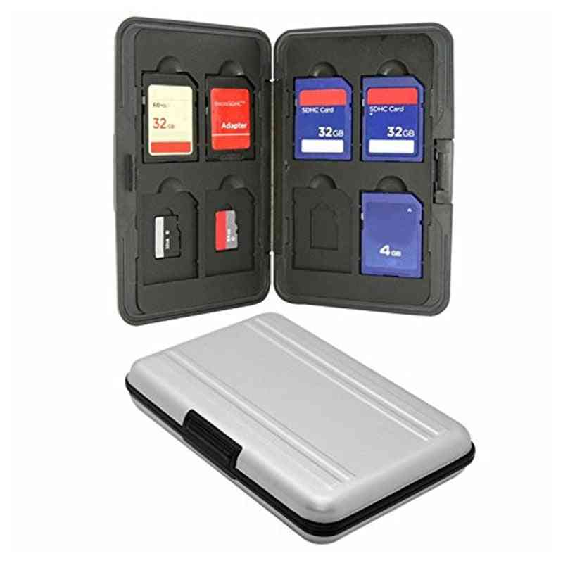 Silver Micro Sd Card Holder Sdxc Storage Holder Memory Card Case Protector For Sd/ Sdhc/ Sdxc/ Micro Sd