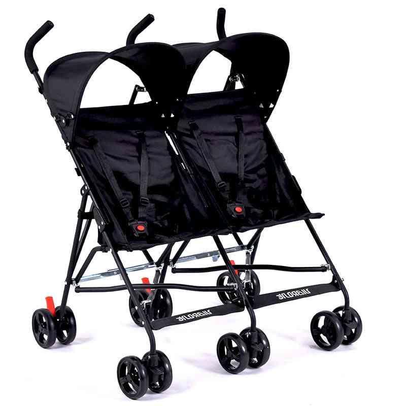 Portable Double Stroller For Twins, Folding Umbrella Baby Cart With Umbrella