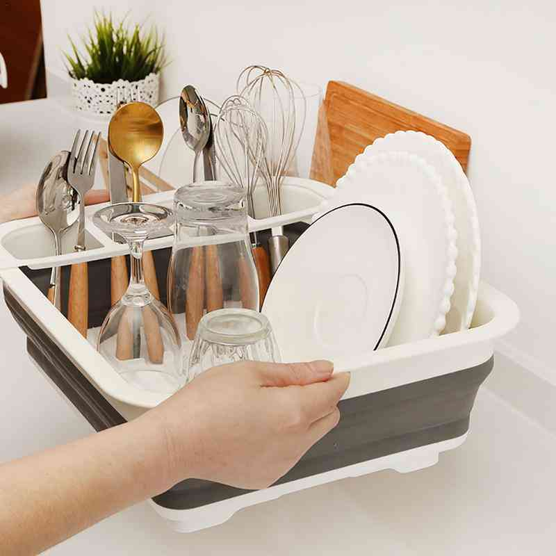 Camper Car Foldable Dish Rack Tableware Rack Portable Bowl Rack
