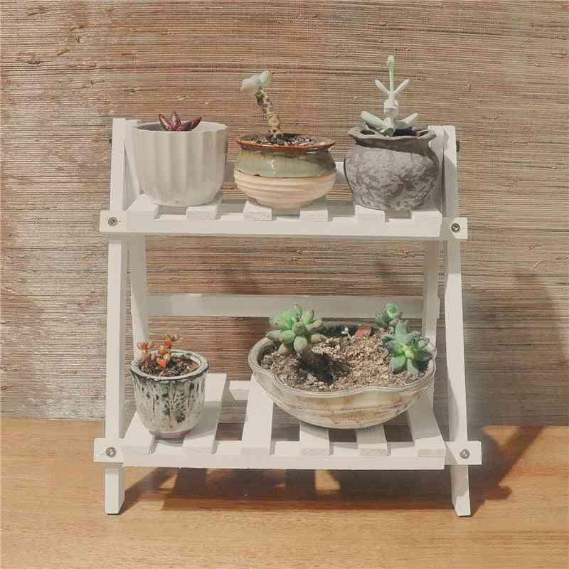 2tier Wooden Shelves Flower Pot Plant Stand Display Indoor Outdoor Garden Patio