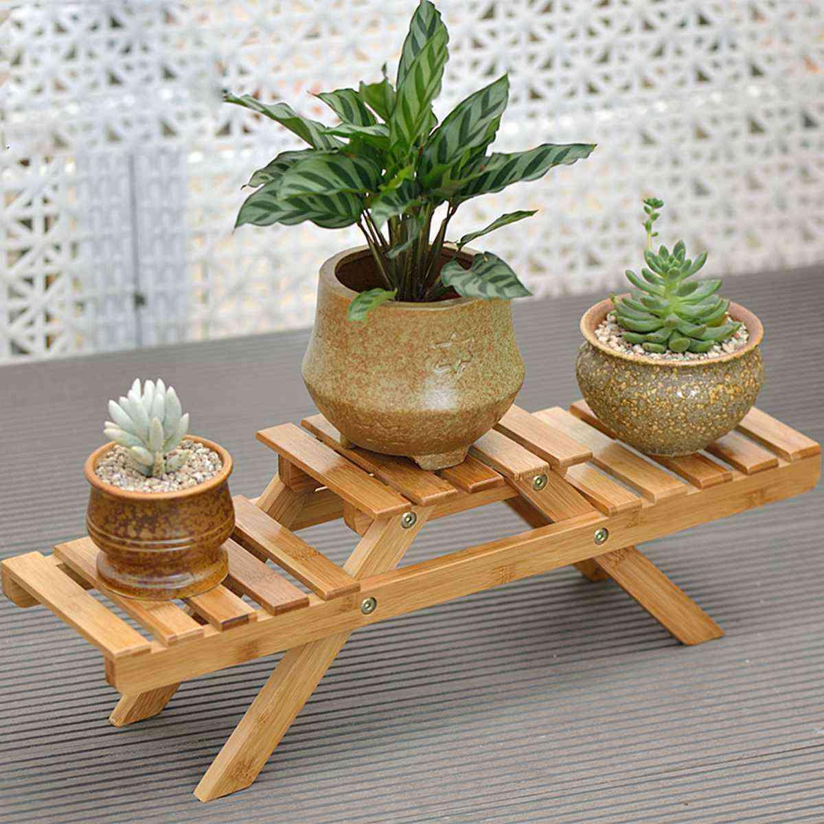 Flower Stand Rack Wooden Shelf Palnt Pot Holder Corner Garden Indoor / Outdoor