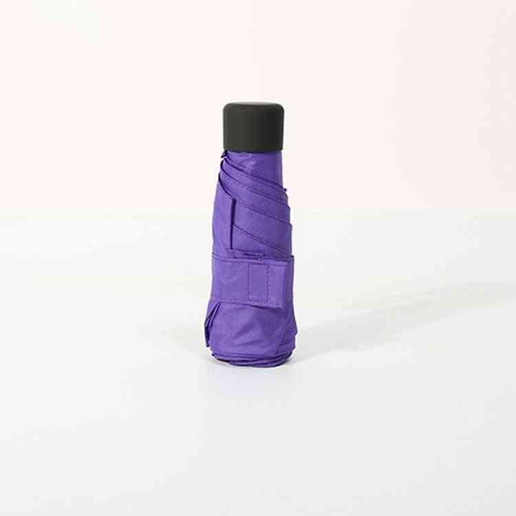 Women Pocket Mini Umbrella, Windproof Durable 5 Folding Sunshade