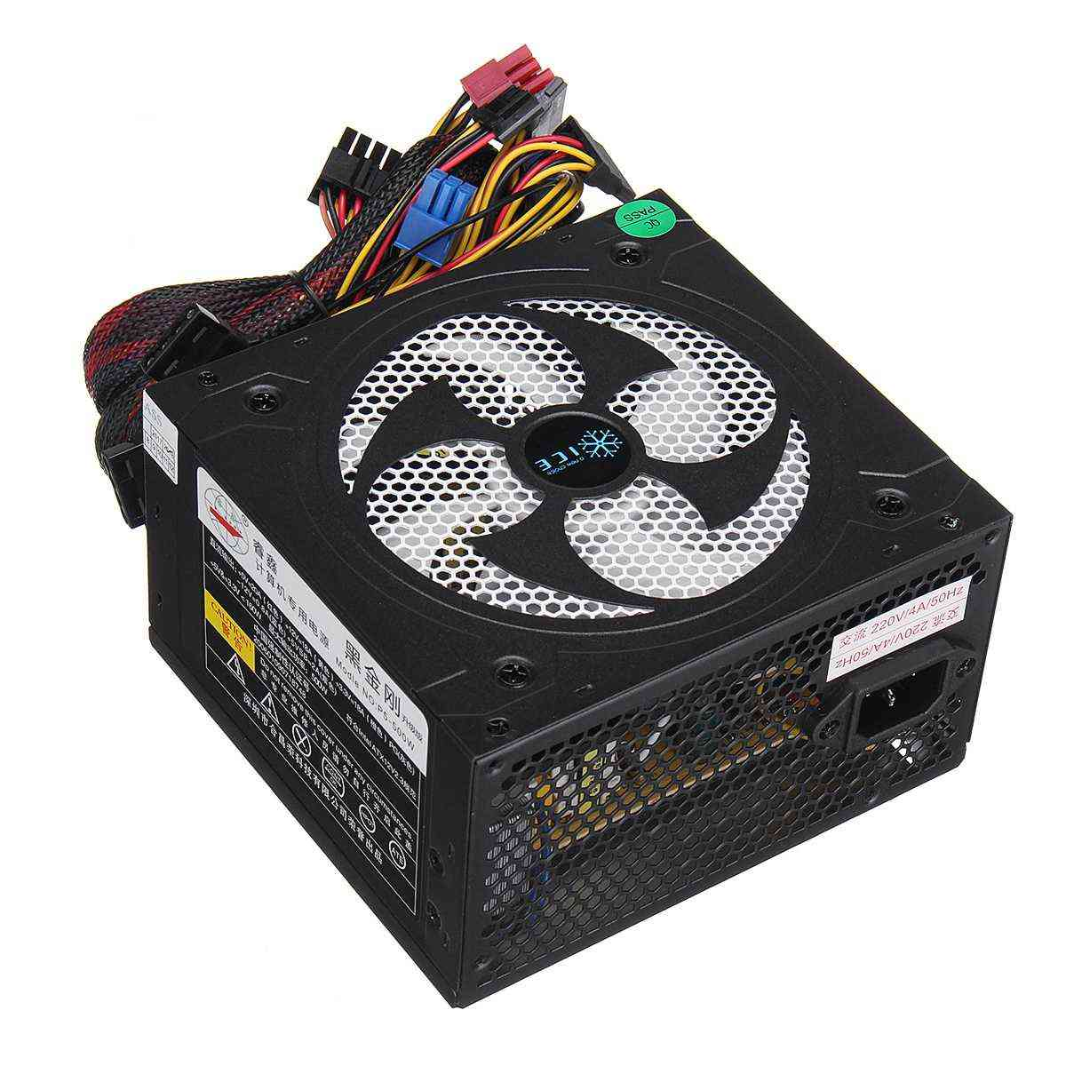 Quiet 500w Desktop Btc Minerv Pc Computer Power Supply With Sata 20pin+4pin For Miner Mining