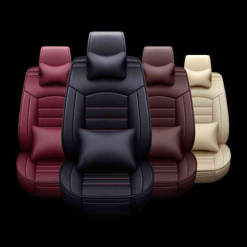 5pcs Set Car Seat Cover Breathable Leather Seat Cushion Car Seat Cushion Chair Protector Universal Auto Interior Accessories