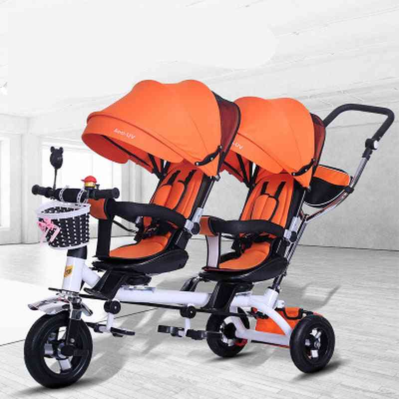 Baby Strollers Double Twin With Air Wheel, Universal Travel Pram Double Seat Baby Tricycle Carriage