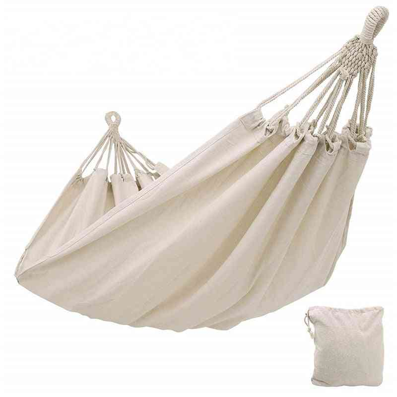 Double Hammock Outdoor Rollover Prevention Camping Canvas Fabric Hammock Hanging Swing Bed