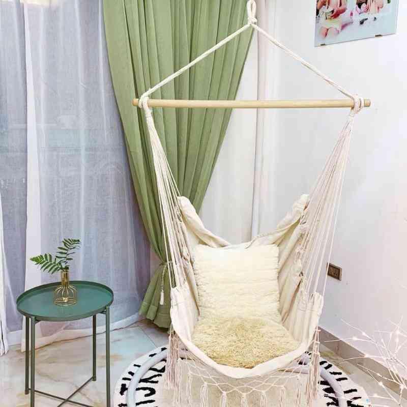 Hammock Chair Beige Cotton Rope Net Swing Rope Balcony Indoor Garden Hanging Chair
