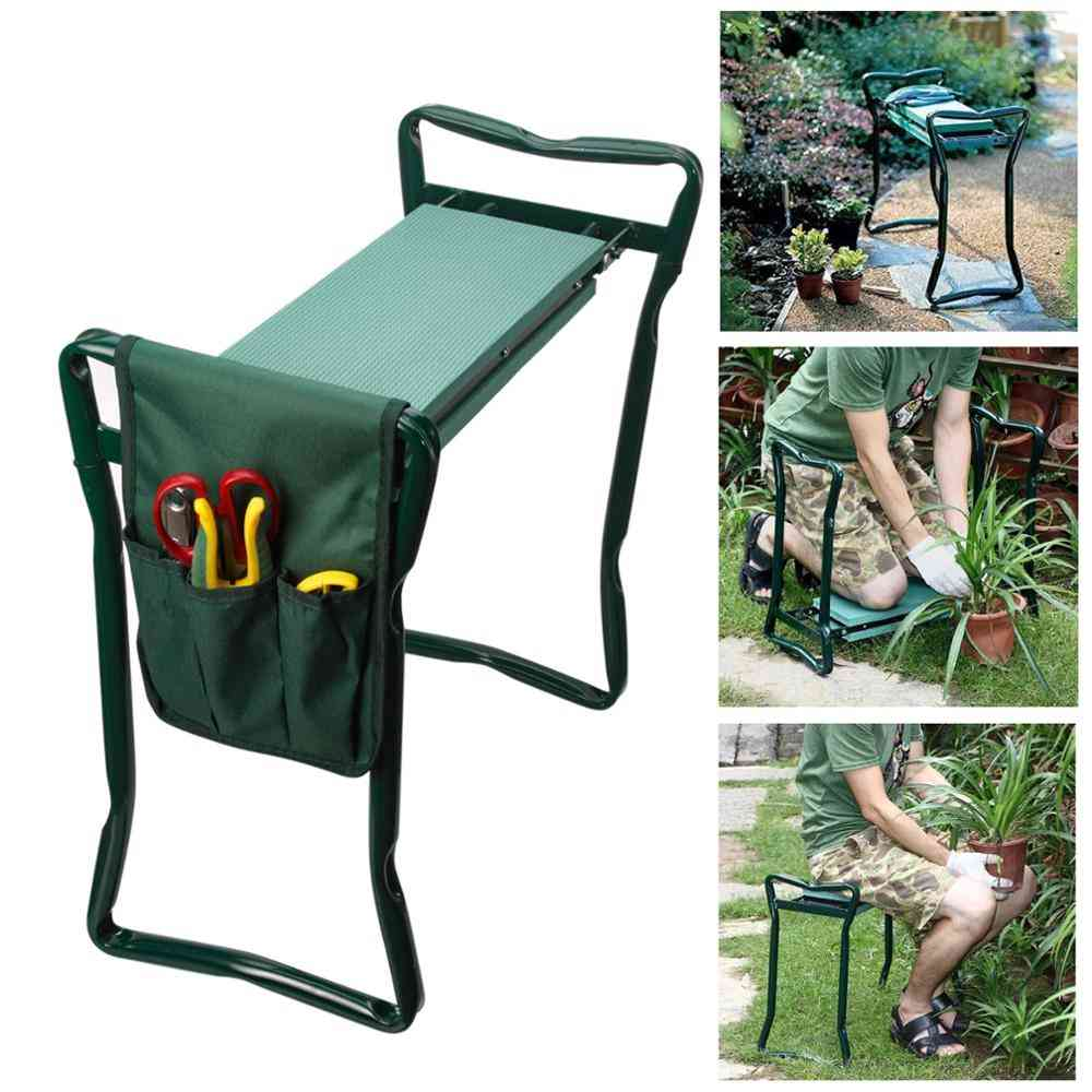 Folding Garden Chair Kneeler Seat, Stainless Steel Stool