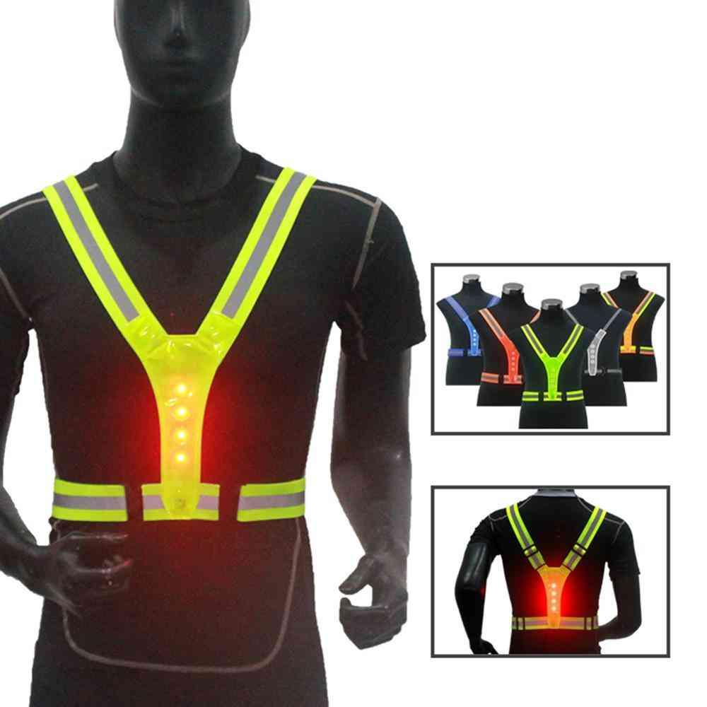 Elastic Led Cycling-vest Adjustable Visibility Reflective Vest Gear Stripes