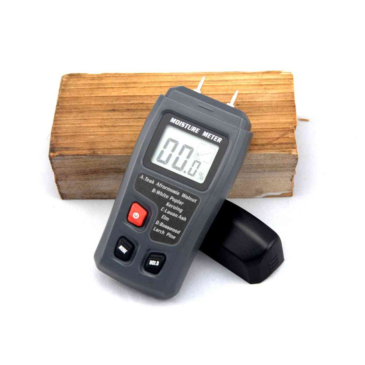 Two Pins Digital Wood Moisture Meter -hygrometer Timber Damp Detector Large Lcd Display