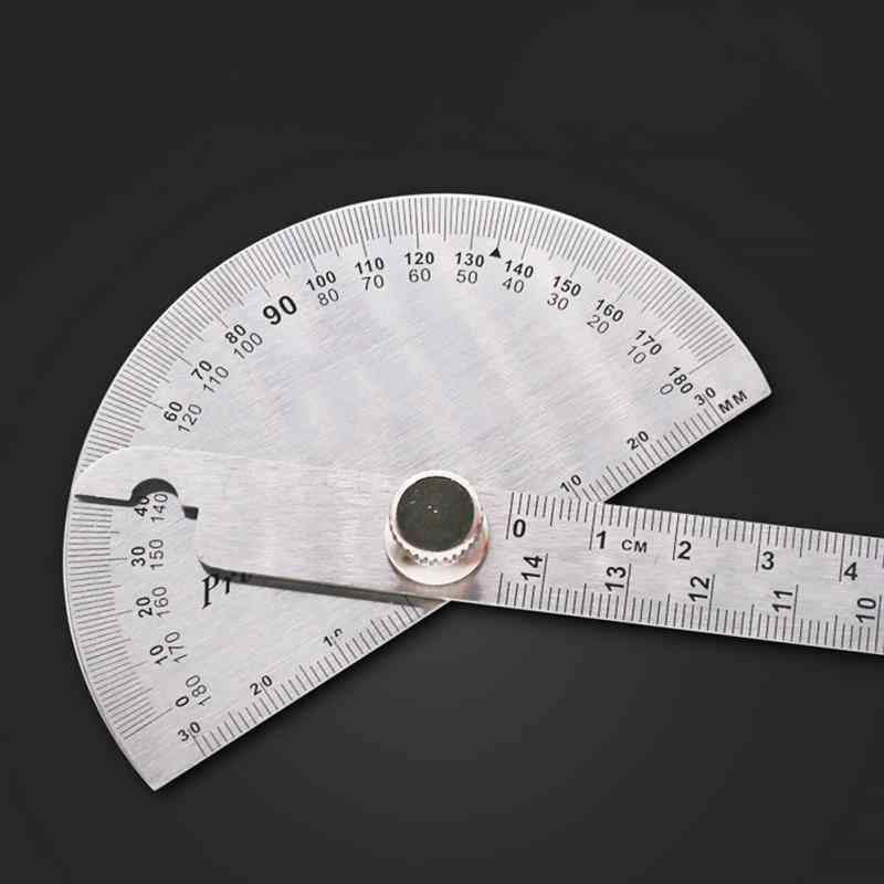 180 Degree Adjustable Protractor-multifunction Stainless Steel Roundhead Angle Ruler