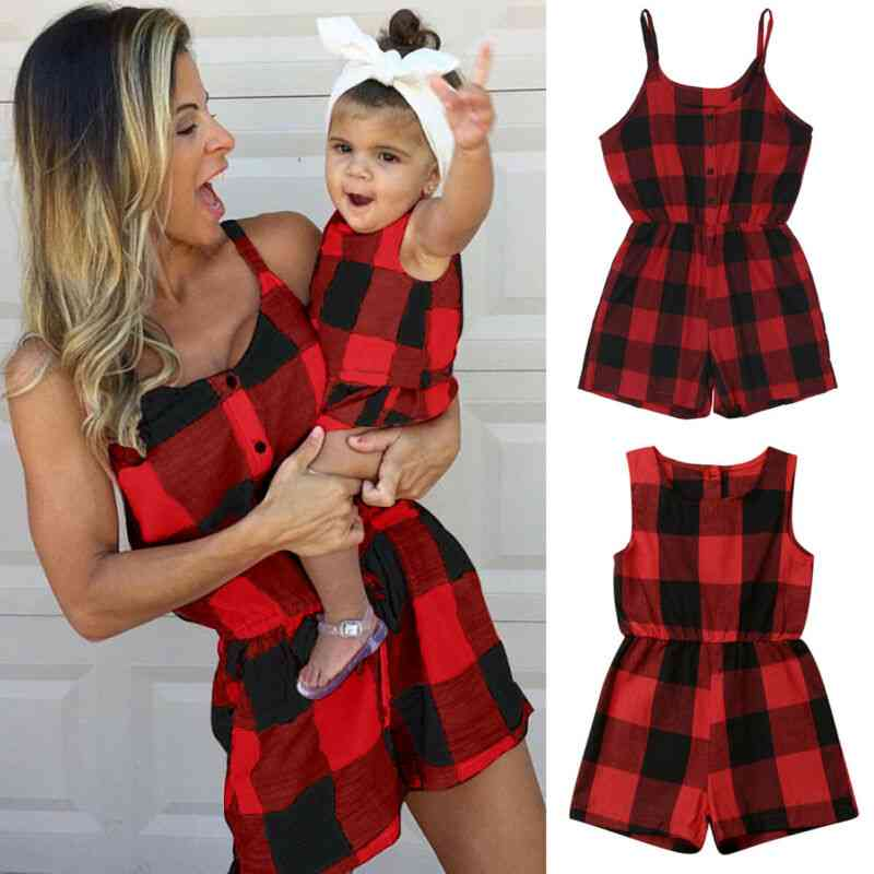 Family Matching Outfits Clothes, Plaid Parent-child Dress Baby Mom Romper