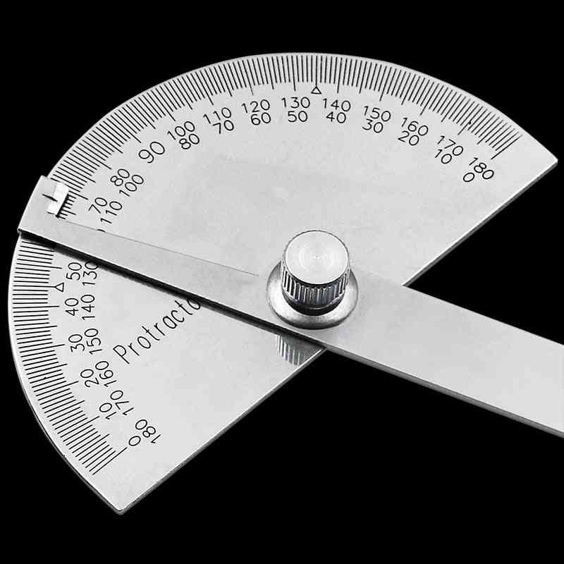 Stainless Steel Round Head Protractor Angle Finder Rotary Measuring Ruler Machinist Tool