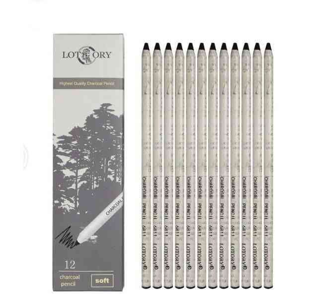 Charcoal Pencils Sketch, Soft Hand Tear Line Carbon Pen For Drawing & Painting