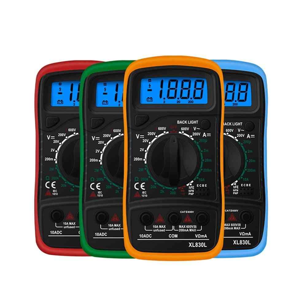 Digital Multimeter Lcd Backlight Portable Ammeter Voltmeter Ohm Voltage Tester, Meter