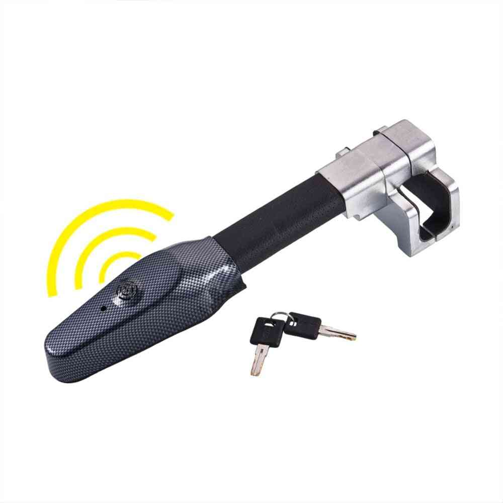 Micro Vibration Controlling Buzzer Alarm Sound Car Van Steering Wheel Lock Security Clamp