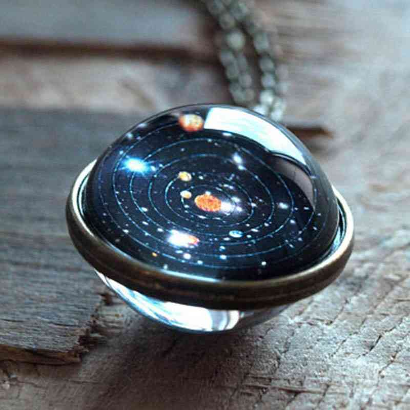 Solar System Double-sided Glass Starry Ornaments Car Decoration