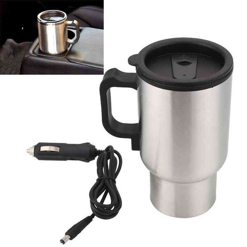 Stainless Steel Electric Car Cup, Travel Heating Cups With Adapter