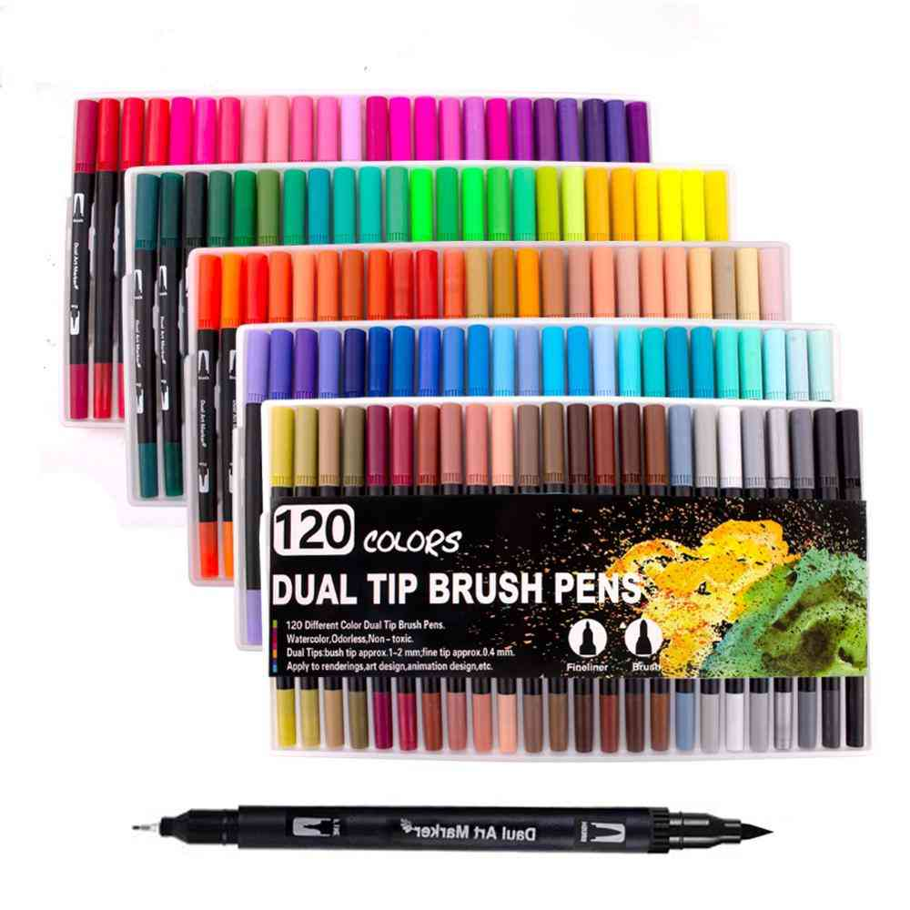 Fineliner Watercolor Brush Markers Dual Tip Drawing For Manga