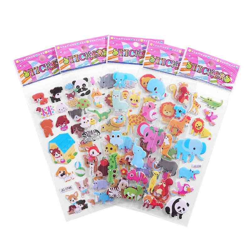 Bubble Puffy Stickers Cartoon, Animal And Fruit