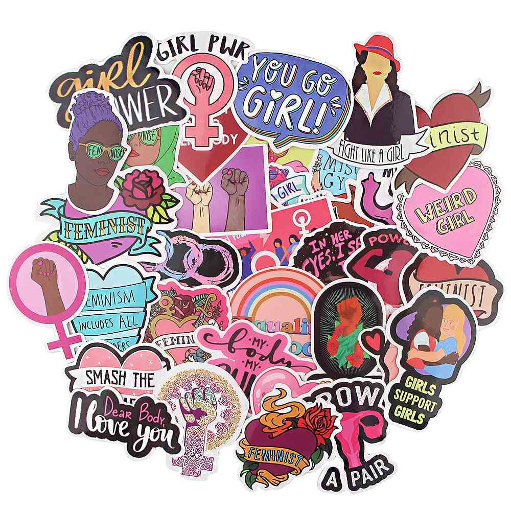 Feminist Themes Cartoon Scrapbooking Stickers Decal For Guitar, Laptop And Luggage
