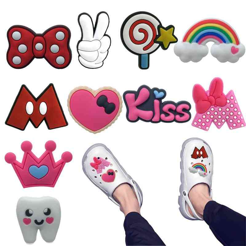 Sweet Charms Crown Lips Kiss Shoes Accessories