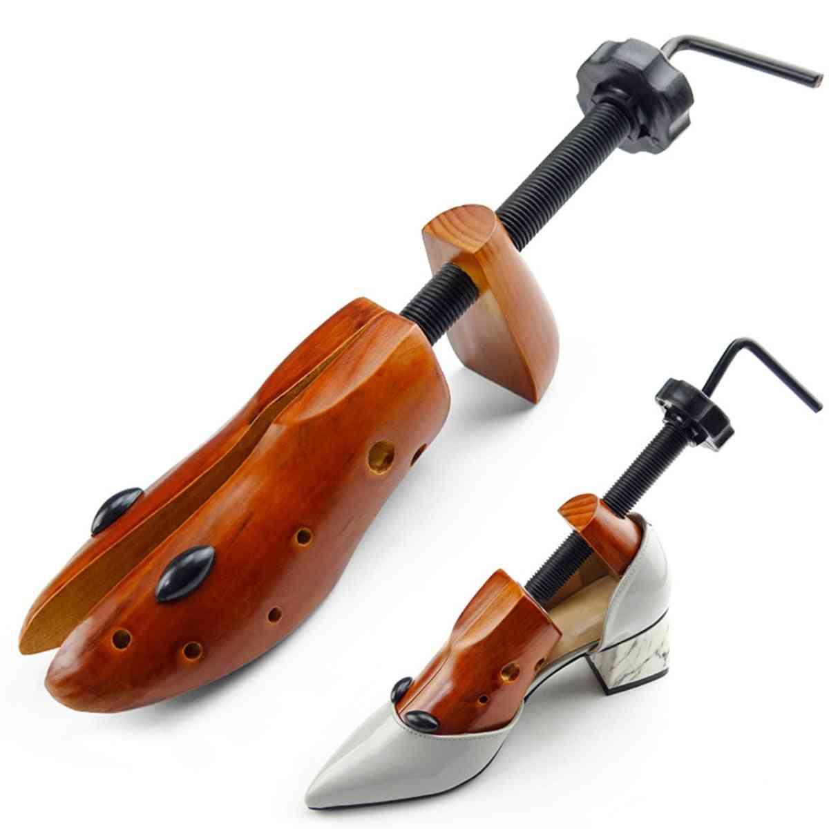 Wooden Shoe Tree Men Women Expander Adjustable Stretcher Shaper Rack