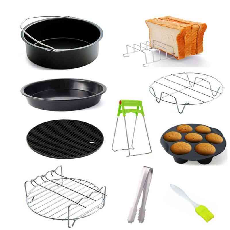 Air Fryer Accessories-pizza Tray Grill Toast Rack Steam Insulation Pad