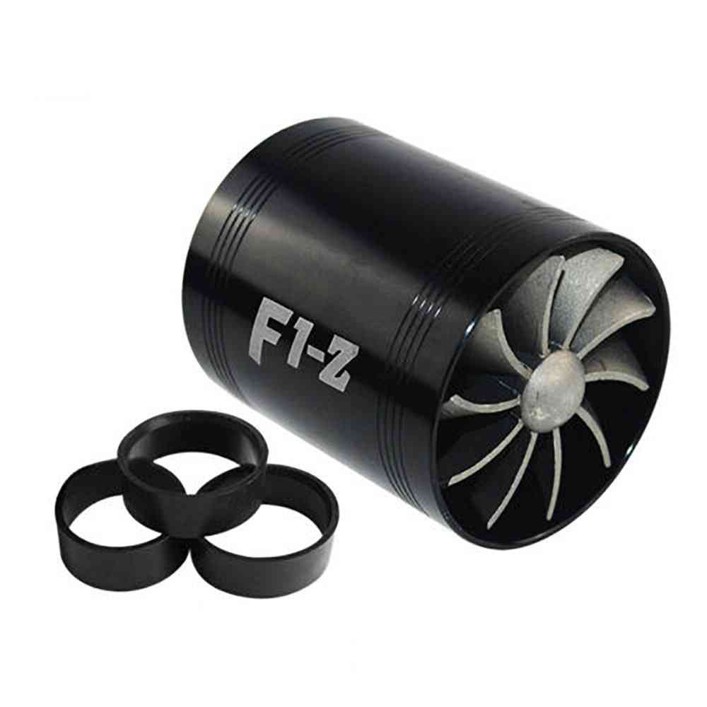 Universal Car Turbine Double Turbo Charger, Air Filter - Gas Saver Kit