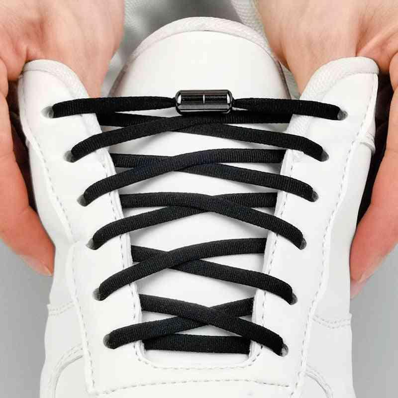 Metal Lock Shoelaces Round Elastic Special No Tie For Men Women Lacing Rubber Zapatillas Colors