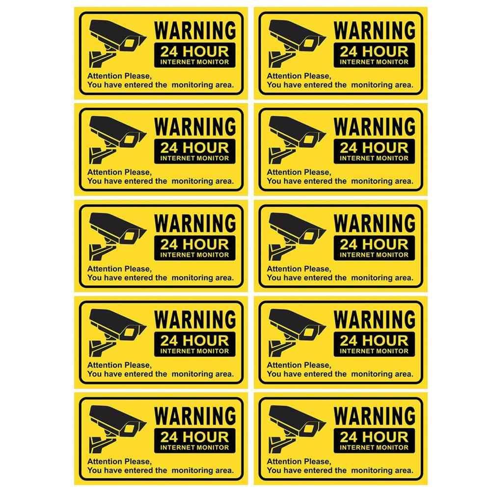 Waterproof Video Camera Surveillance Security Stickers, Decals Warning Alarm Signs