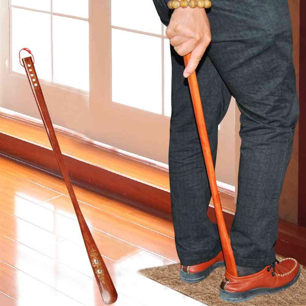 Practical Stick Durable Portable Hanging Loop Wooden Shoe Horn Handle Lifter