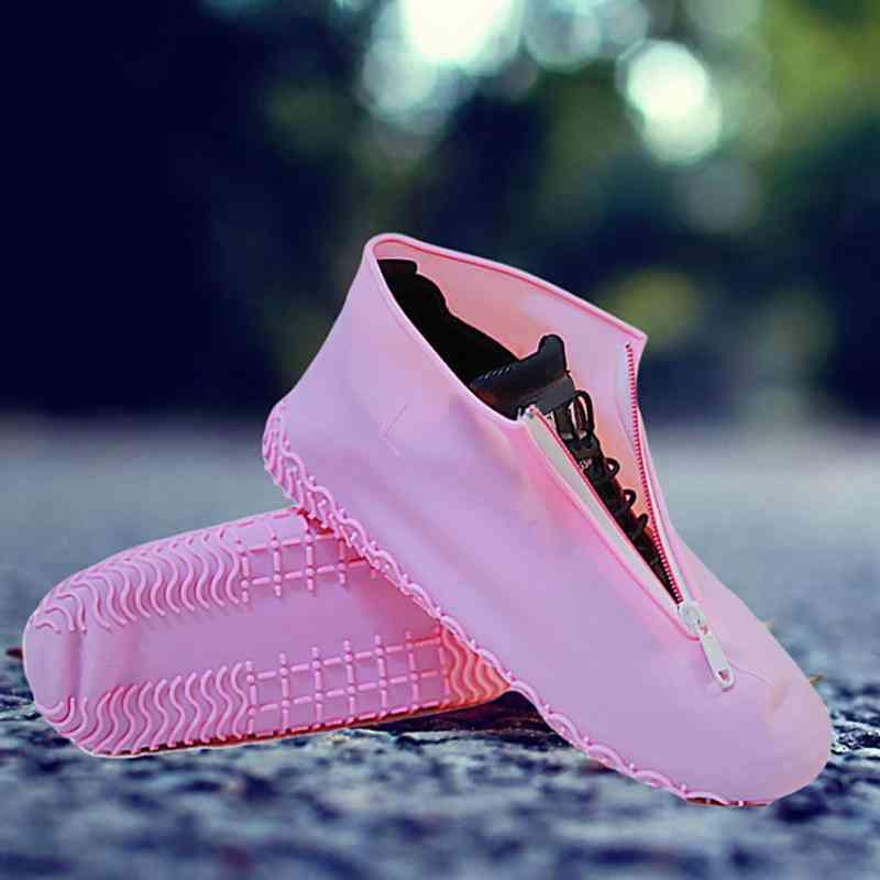 Elastic Silicone Shoe Cover, Zipper Portable Rain Boots Accessories