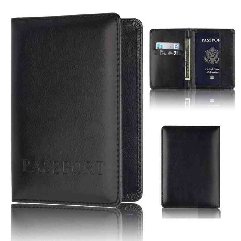 Casual Pu Leather Passport Covers Travel Accessories Id Bank Credit Card Bag