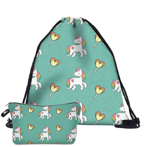 Cute Drawstring Backpack, Cosmetic And School Bags