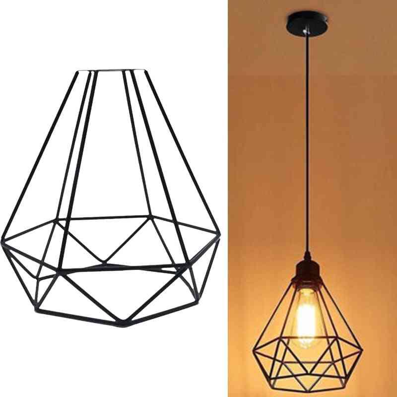 Retro Pendant Light Lampshade-decorative Cage Shape Frame